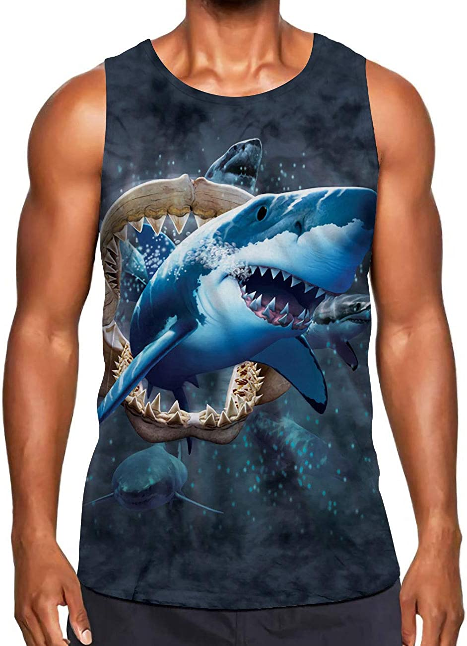 Alistyle Mens Summer Sleeveless 3D Print Tank Tops Casual Workout Graphic Holiday Vest Shirts