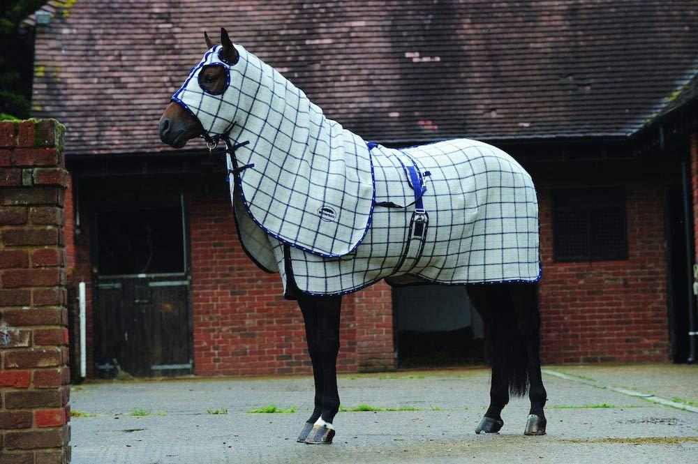 Cream Navy Light bluee Pony Cream Navy Light bluee Pony WEATHERBEETA Wool Show Hood Cream Navy Light bluee Pony Horse Rug
