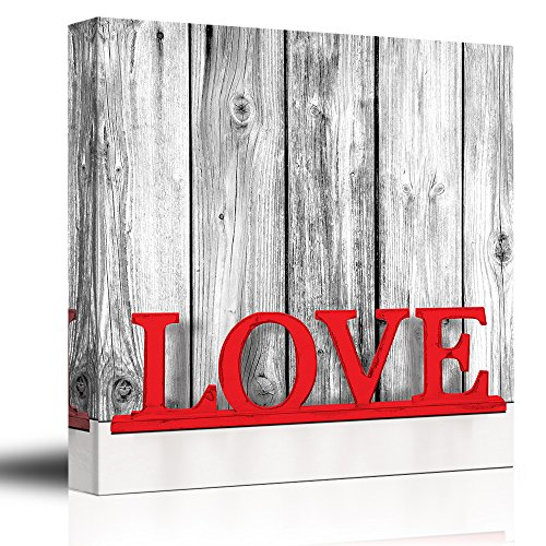 wall26 Romance Series - Black White and red Color pop - Rustic Wood Painted red hot Love Typography - Shabby Chic - Canvas Art Home Decor - 24x24 inches