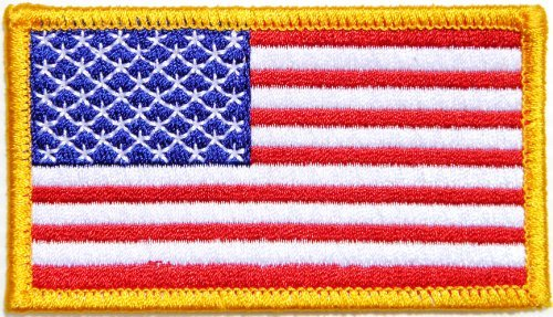 (panicha flag patch Gold Border UNITED STATES US USA American Flag Team Military Army Biker Jacket T shirt Uniform Patch Sew Iron on Embroidered Badge Sign Costume)