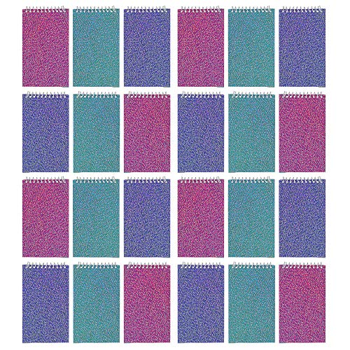 Kicko Mini Spiral Glitter Notepads - 24 Pieces of Ruled Composition Spiral Notebooks for Students and Professionals - Journals, Diary, Homeworks, Scratches,, Themed Party Favors ()