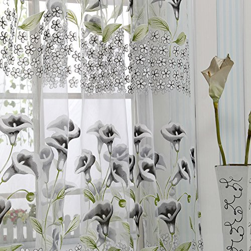 Gen 1 Valance - Zeshlla Curtain, Flower Curtain Window Treatment Blackout Curtain Voile Drape Valance per Bedroom Kitchen and Room 80x40 inches (1 Piece)