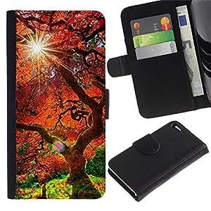 Stuss Case / Funda Carcasa PU de Cuero - Árbol rojo viejo - Apple Iphone 4 / 4S