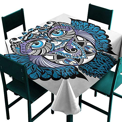 Oil Tribal Elephant Warmer - Warm Family Tribal Oil-Proof and Leak-Proof Tablecloth Owl Bird Animal with Paisley Tattoo Design with Big Blue Eyes Lashes Print Indoor Outdoor Camping Picnic W36 x L36 Navy Blue and Purple