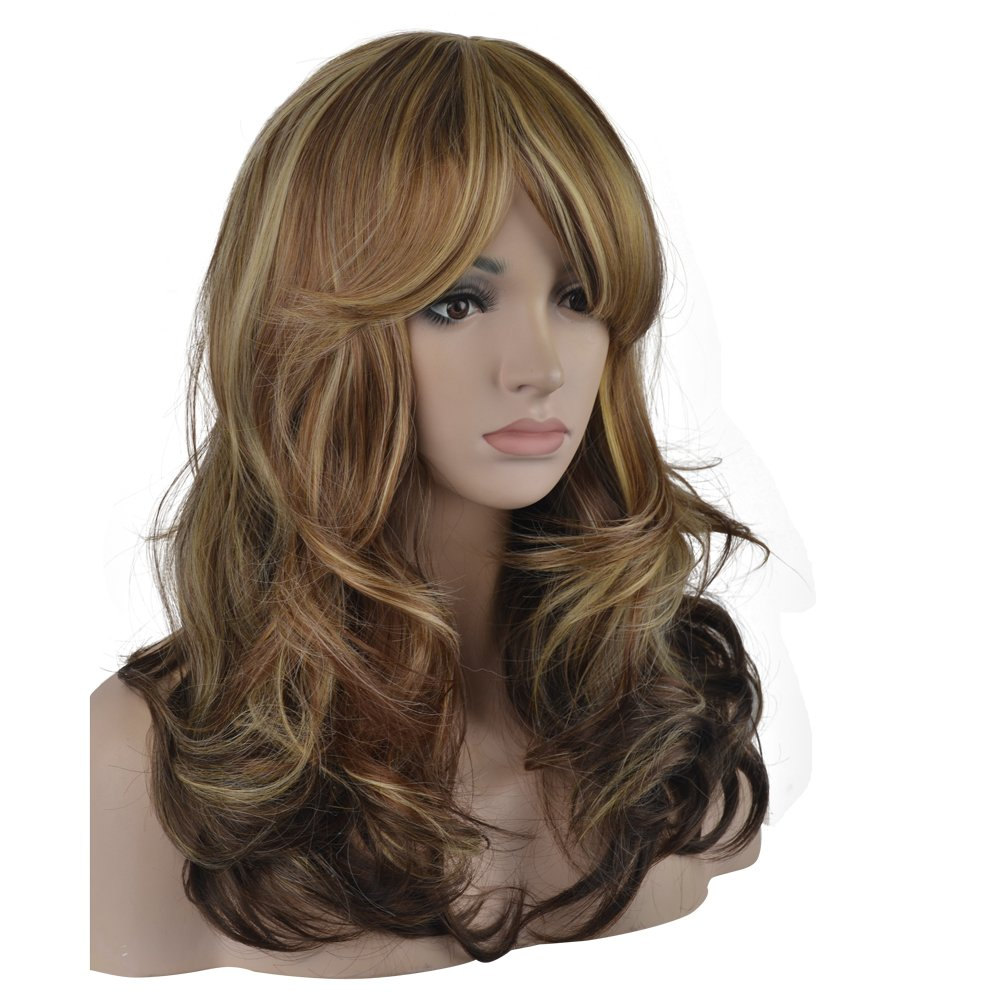 Amazon Enilecor 2 Tones Blonde Mixed Auburn Highlights Wigs