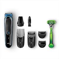 Braun MGK3040 MultiGrooming Kit 7 In 1 Rasoio Barba Elettrico, Tagliacapelli e Regolabarba Uomo per lo Styling di Barba e Capelli, Nero/Blu