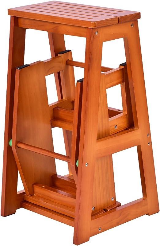 3 Stufig Leiterstuhl Treppenleiter Klapptreppe Klappstuhl Trittstuhl Trittleiter Holztritt Hocker Holz Amazon De Baumarkt