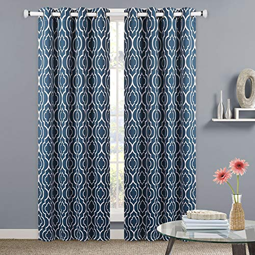 - NANAN Moroccan Blackout Curtains,Lattice Print Thermal Insulated Blackout Window Curtains,Room Darkening Geometric Blackout Grommet Top Curtains for Bedroom (52