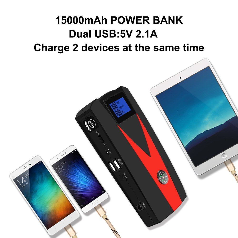 Car Jump Starter, 12V 800A Peak(Up to 5.0L Gas or 4.0L Diesel Engine) Portable Auto Battery Booster,Dual USB Power Bank Phone Battery Pack Built-in LED Light & Compass by PUSHIDUN (Image #5)