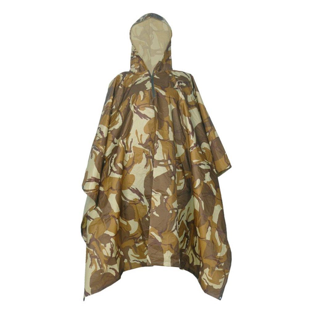 Luwint Multifunction Camo Rain Poncho Cape - Waterproof Raincoat Hooded Rainwear for Hiking Hunting Camping Fishing Military Outdoors (Desert Camouflage) DreamsEden Lwt-McYuPi-SM