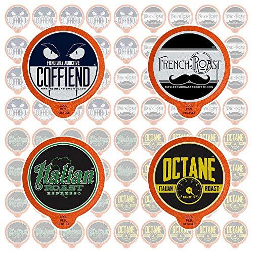 Fresh Roasted Coffee LLC, Bold Artisan Blends Coffee Pod Variety Pack, Medium-Dark & Dark Roast, Compatible with 1.0 / 2.0 Single-Serve Brewers, 72 Count