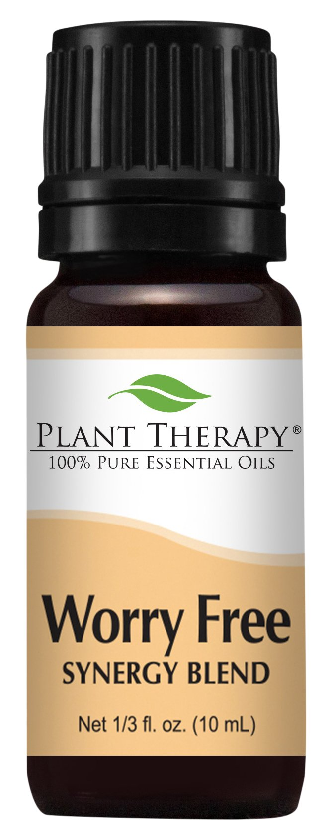 Plant Therapy Worry Free (Stress Free) Synergy Essential Oil Blend. Blend of: Lavender, Marjoram, Ylang Ylang, Sandalwood, Vanilla and Roman Chamomile. 10 ml (1/3 oz).