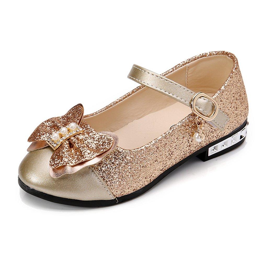 Girls Mary Jane Ballerina Flat Glitter Bow Princess Dress Shoes (Toddler/Little Kid)