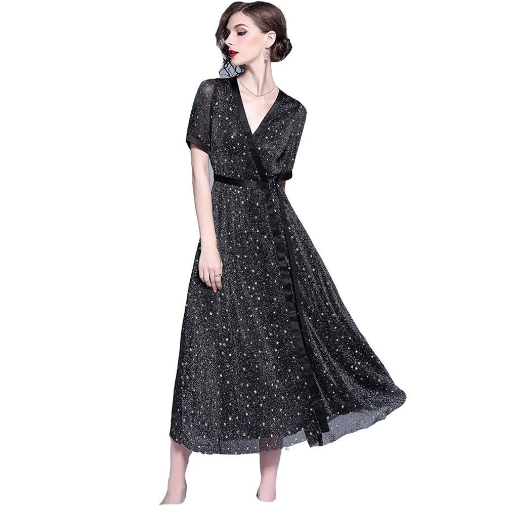 Black Women's Cocktail Party Dress Women Ladies Elegant Dress Deep V Neck Short Sleeve Glitter Star Mesh Long Dress Casual Tunic ALine Swing Dress Fit & Flare Dress Pencil Dress
