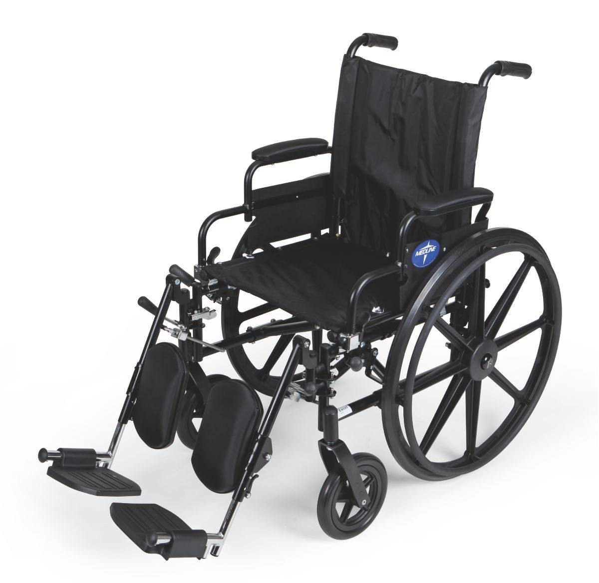 """Medline Premium Ultra-lightweight Wheelchair with Flip-Back Desk Arms and Elevating Leg Rests for Extra Comfort, Black, 18"""" x 16'' Seat"""