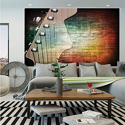 SoSung Guitar Huge Photo Wall Mural,Abstract Grunge Retro Background with Headstock and Tuning Pegs Blues Jazz Musician,Self-Adhesive Large Wallpaper for Home Decor 100x144 inches,Multicolor