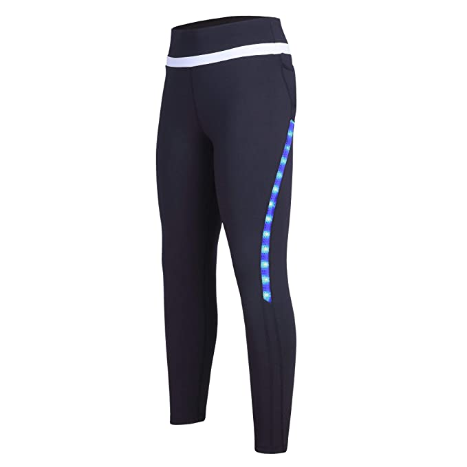 b8a8569ae1 beroy Women 4/5 Runing Workout Capri Legging Shorts with Led Light,Girls  Yoga