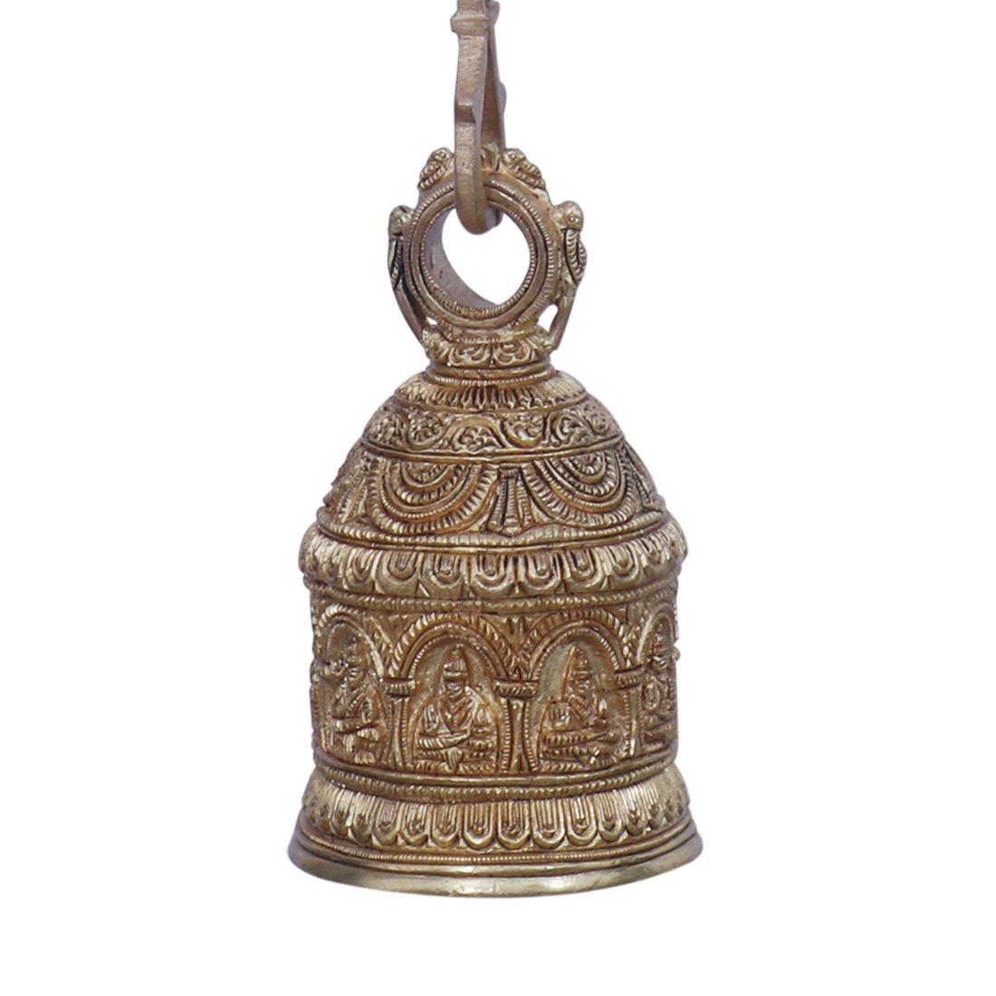 Amazon.com: Ratnatraya Indian Small Brass Bell Hanging For Pooja ...