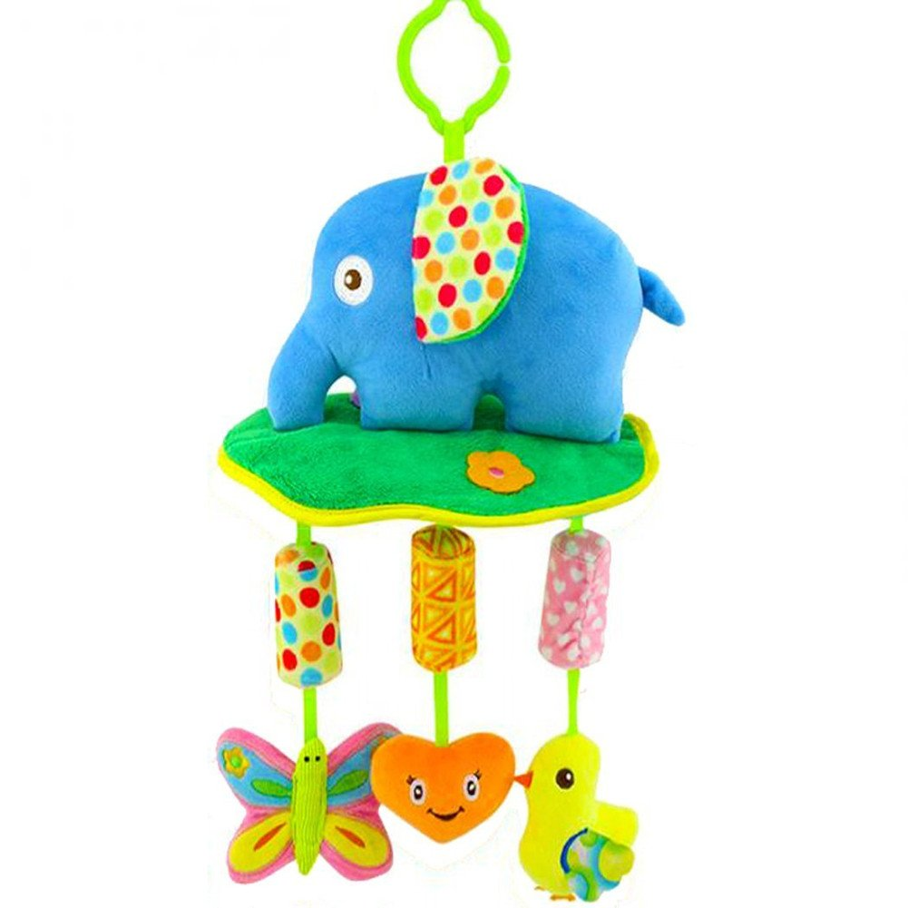 Freeas Pram Play Set | Fits Pram & Stroller, Baby' s Entertainment On The Go, Hanging Toys To Keep Baby Happy, Suitable For New-Born, Easier Outdoors, Best Gift (Elephant) Baby' s Entertainment On The Go