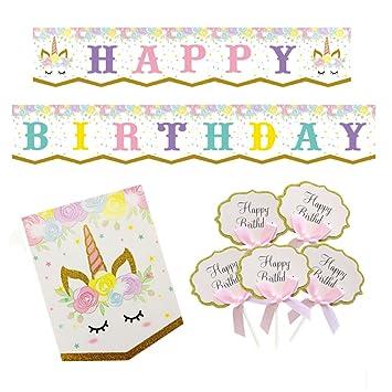 amazon com happy birthday banner unicorn themed party favors