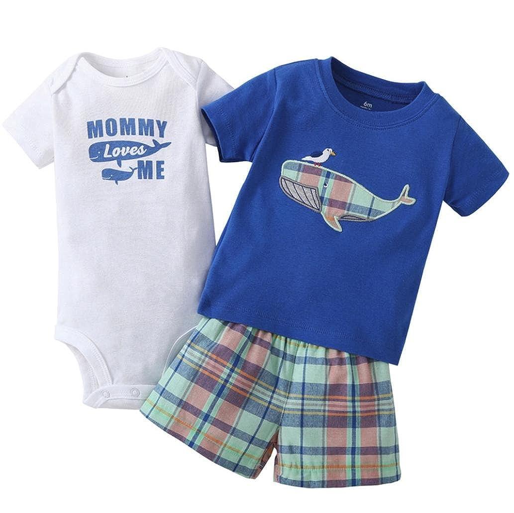 ZARLLE Venta Caliente 2018 Ropa Bebe Recien Nacido Bebé NiñO Infant Baby Boys Whale Print Tops + Pantalones + Carta Mameluco Trajes Establece Controles ...