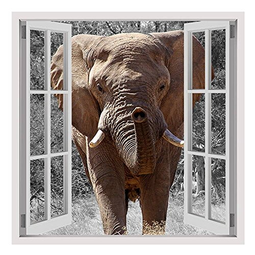 Alonline Art - African Elephant by Fake 3D Window | framed stretched canvas on a ready to hang frame - 100% cotton - gallery wrapped | 24