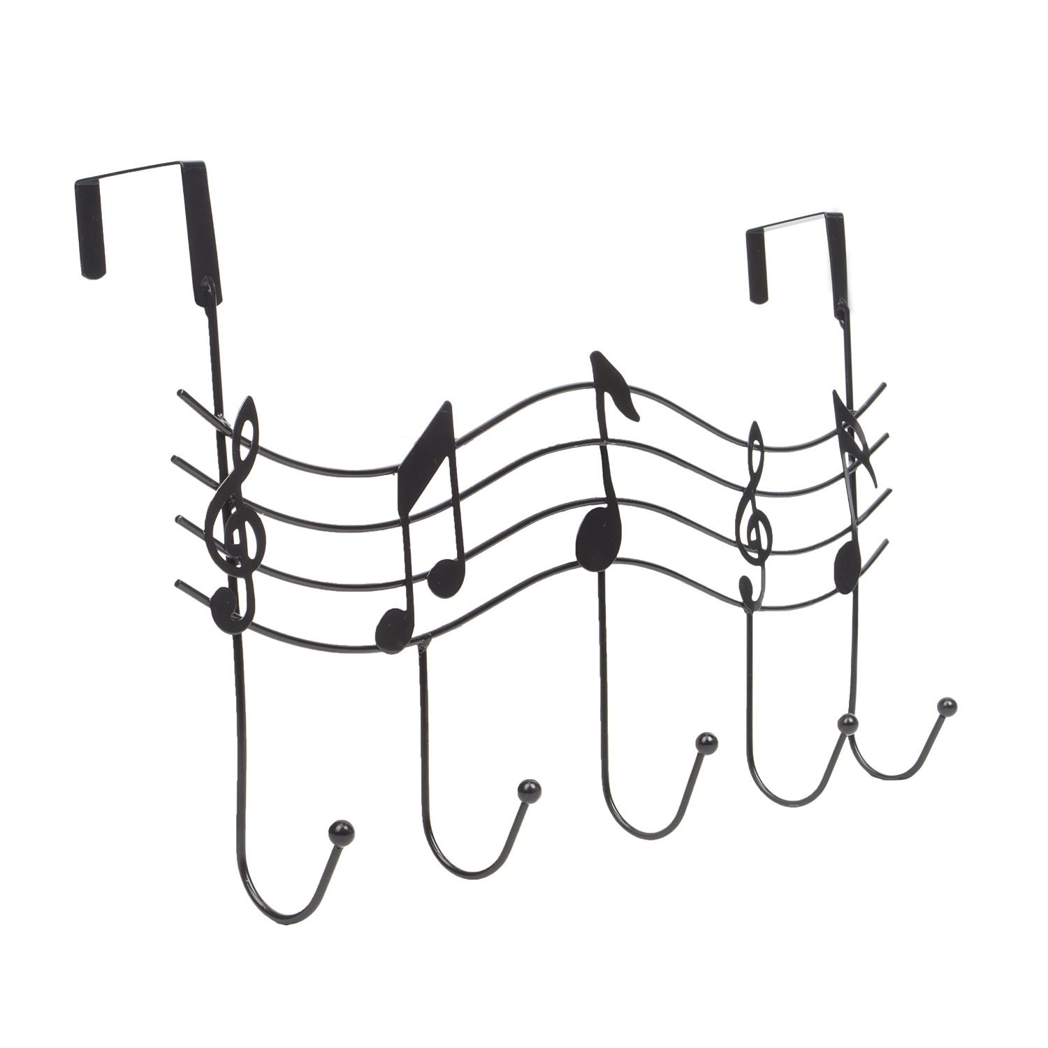 Fashionclubs Over the Door 5 Hanger Rack Hook Decorative Metal Hanger Holder Music Holder for Home Office Use (Black)