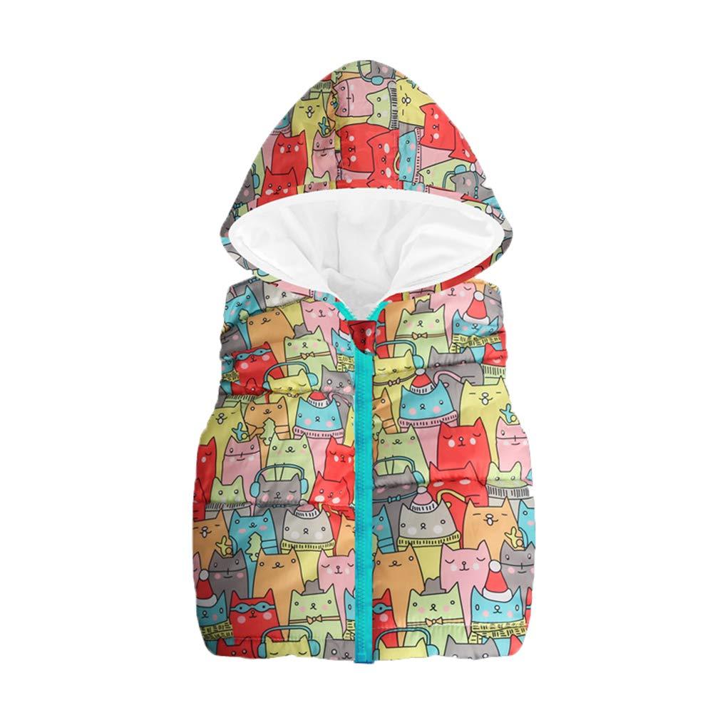 Hibote Autunno Inverno Bambini Gilet per Ragazzi Gilet Cartoon Boy Girl Capispalla con Cappuccio Giacche Gilet Baby Boy Girl Warm Coat