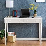 Janice 2 Drawer Writing Desk - Slim Profile Design - Crisp White Finish