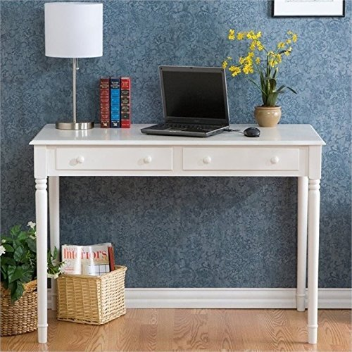 Janice 2 Drawer Writing Desk - Slim Profile Design - Crisp White -