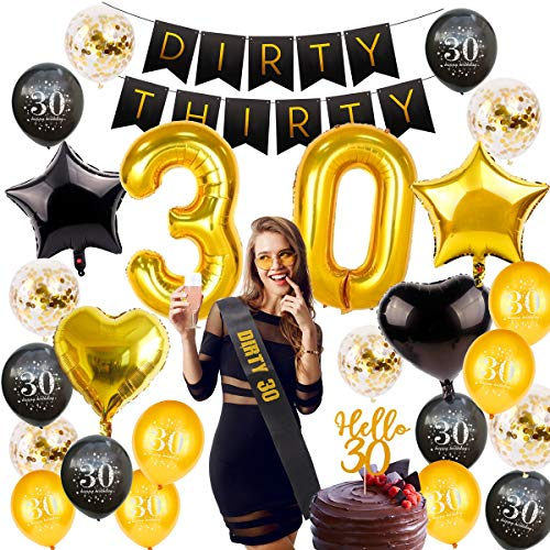 30th Birthday Decorations Party Supplies - Gold 30 Number Birthday Balloons, 30 Birthday Banner, Dirty 30 Sash, Hello 30 Cake Topper, 30th Birthday Party Decorations by QIFU(30 Birthday Balloons)]()