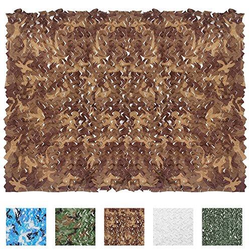 IUNIO Camouflage Netting, 6.5ft x 5ft/2m x 1.5m Custom Desert Camo Net Great For Sunshade Camping Shooting Hunting ()