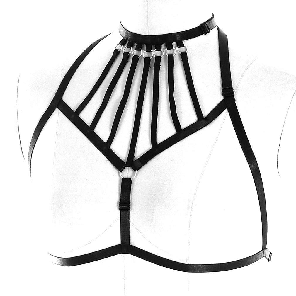 9e33160e6a Women Goth Punk Harness Bra Crop Top Chest Belt Bondage Lingerie Strappy  Adjust Plus Size at Amazon Women s Clothing store