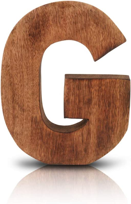 "8"" Decorative Solid Block Wooden Letters Alphabets Words Natural Finished Wood Freestanding Shelf or Tableware Childrens Baby Names Initials For Bedroom Wedding Birthday Party Home Decor (Letter G)"