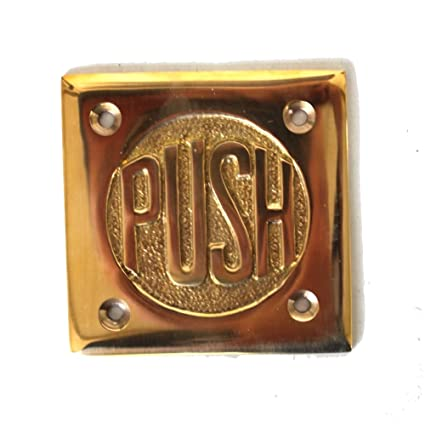 Small PUSH Door Plate in Solid Brass vintage style Old Fashioned Lettering - Small PUSH Door Plate In Solid Brass Vintage Style Old Fashioned
