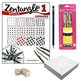 Zentangle Basics Starter Kit (Bundle of 5 Items) – Zentangle Basics 1 Book, Sakura 3-Piece Pigma Micron Black Ink Pen Set, Pencil, Eraser and 40 Artist Tiles