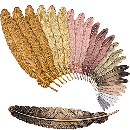 Tatuo 27 Pieces Feather Metal Bookmarks Feather Bookmarks Feather Shaped Bookmarks for Adults and Kids