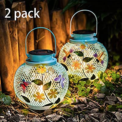 [Set of 2]Polami Solar Lantern Hanging Garden Outdoor,Decorative Metal Edison Bulb Butterfly Dragonfly Blue Lights for Table Patio