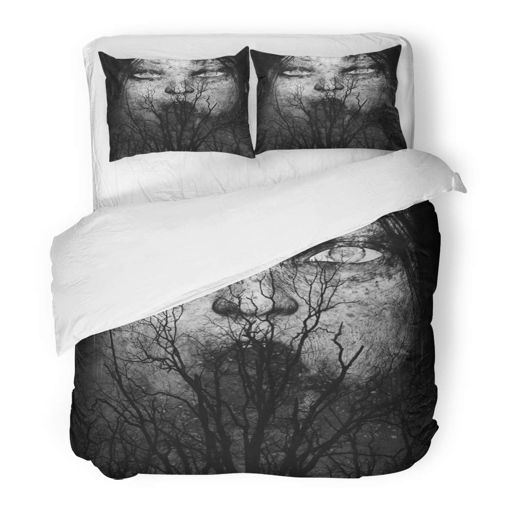 SanChic Duvet Cover Set Halloween 3D Scary Ghost Woman Horror Mixed Media Movie Anger Anxiety Decorative Bedding Set 2 Pillow Shams King Size