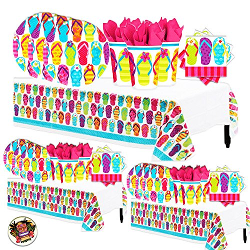 Another Dream Flip Flop Tropical Luau Hawaiian Summer on The Beach Mega Deluxe 238 Piece Party Supply Pack for up to 50 Includes 60 Plates, 125 Napkins, 50 Cups, and 3 Tablecovers ()