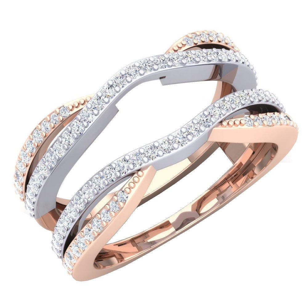0.40 Carat (ctw) 10K White & Rose Gold Two Tone Diamond Ladies Wedding Band Double Ring (Size 7.5)