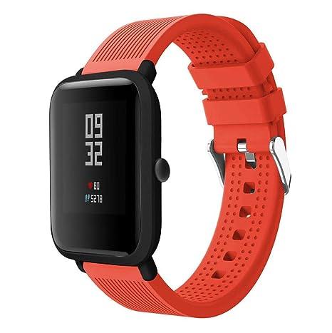 ... de Silicona Correa de Reloj Pulsera para Huami Amazfit Bip Watch Reloj Inteligente (Amarillo, para Huami Amazfit Bip): Amazon.es: Deportes y aire libre