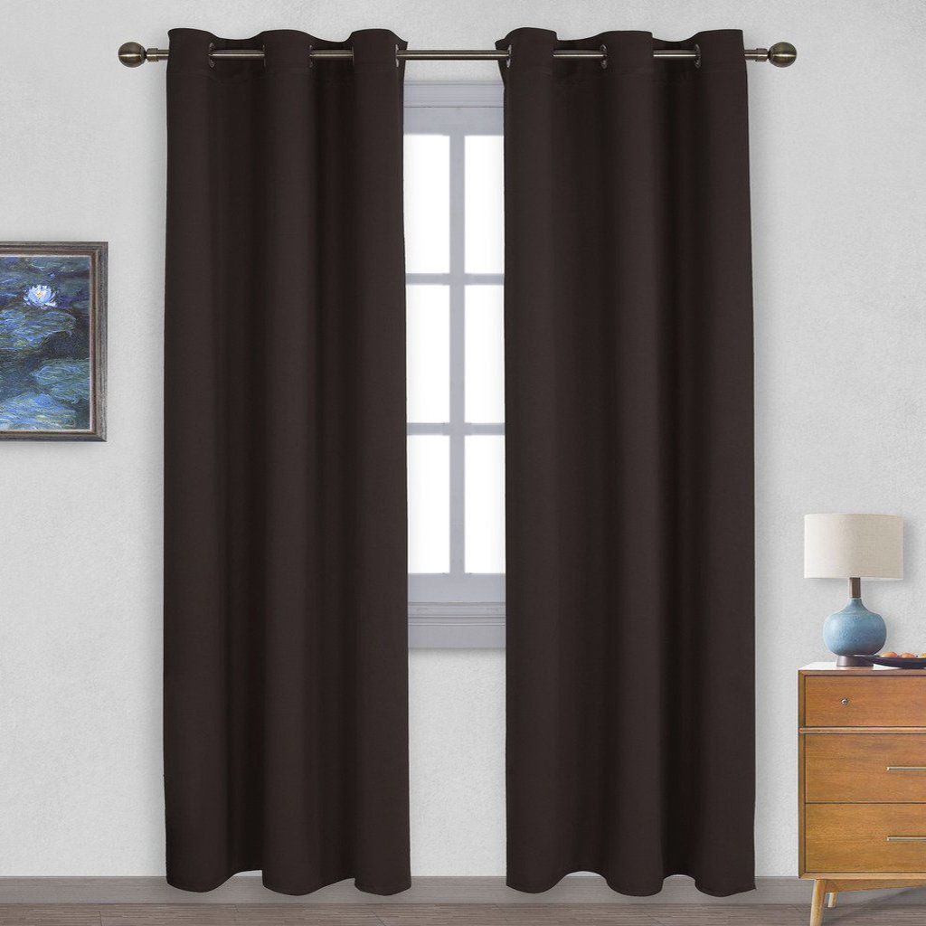 Toffee Brown Solid Grommet Blackout Curtains / Drapes for Living Room 2 Panels