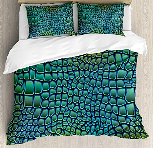 Ambesonne Abstract Duvet Cover Set, Alligator Skin African Animal Crocodile Reptile Safari Wildlife Vibrant Artwork, 3 Piece Bedding Set with Pillow Shams, Queen/Full, Green Blue ()