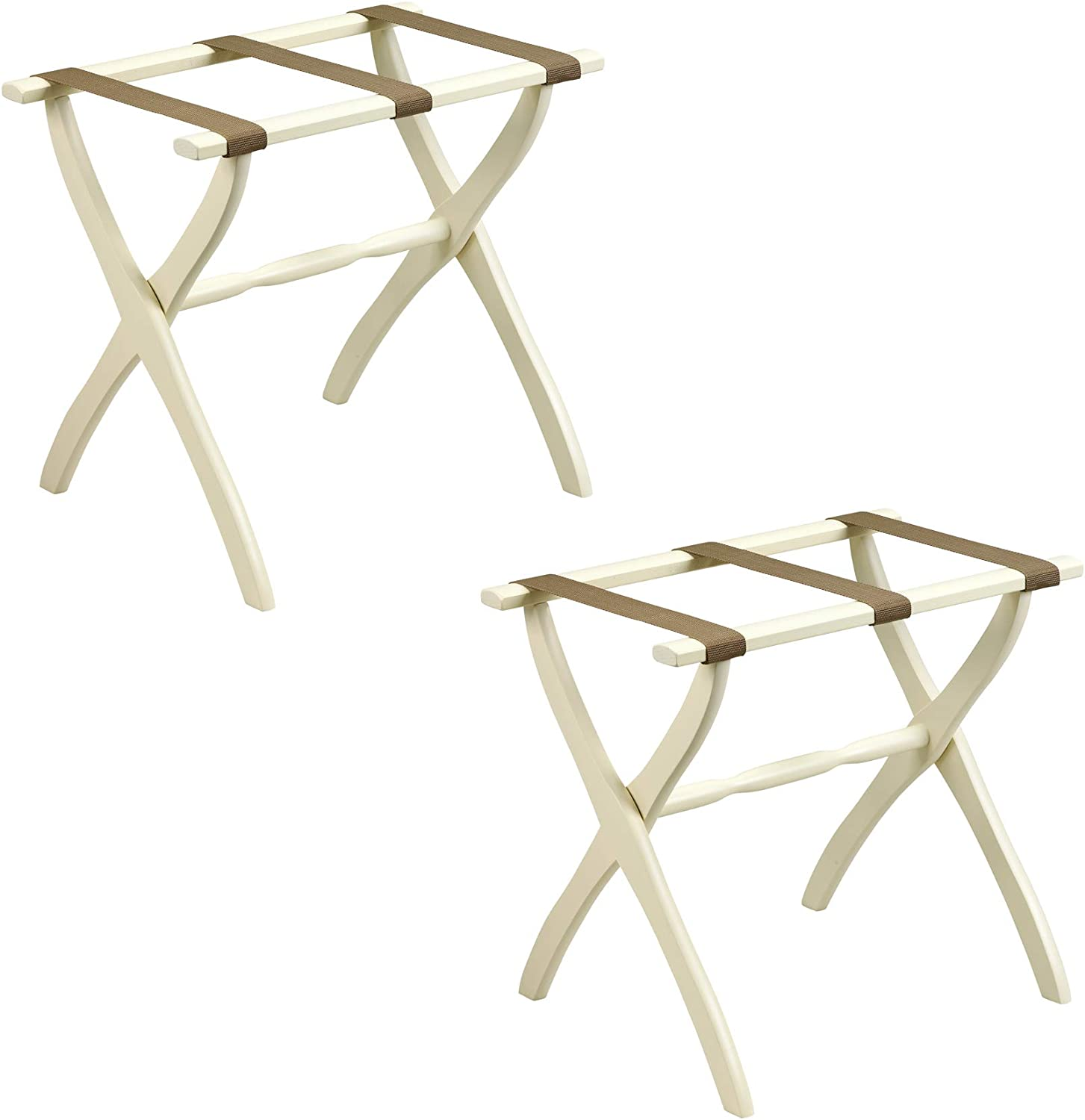 Gate House Furniture 2-Pack Ivory Contour Leg Wood Luggage Rack 3 Beige Nylon Straps