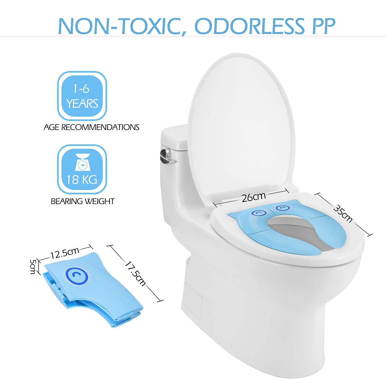 Asiento de Inodoro Reductor Plegable para Bebés - Momcozy Tapa WC Orinal para Bebés - con 5 piezas de Cubiertas de Papel Higiénico Para bebés, ...