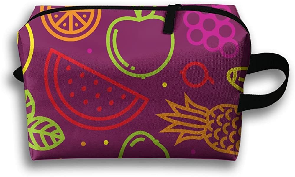 Fruits Pattern Purple Fashion Unisex Travel Bag Small Items Collect Portable Toiletry Bag Organizer Storage