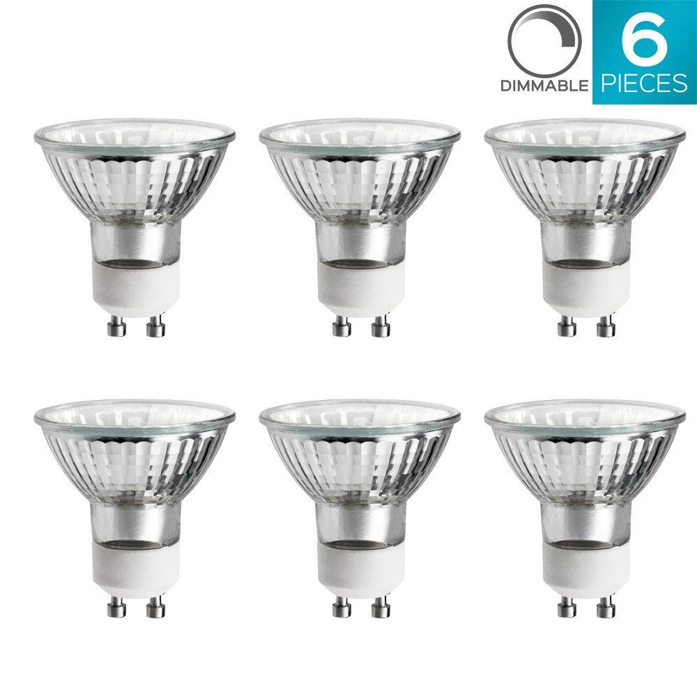 Luxrite LR20490 (6-Pack) 35W/GU10/120V 35-Watt MR16 Halogen Light Bulb, Glass Cover, Dimmable, 320 Lumens, GU10 base
