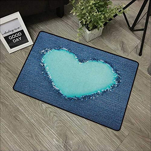 - Bathroom Door mat W31 x L47 INCH Navy and Teal,Ripped Denim Jean Fabric Image Heart Shape Love Romance Valentines Day, Navy Blue Seafoam Non-Slip Door Mat Carpet