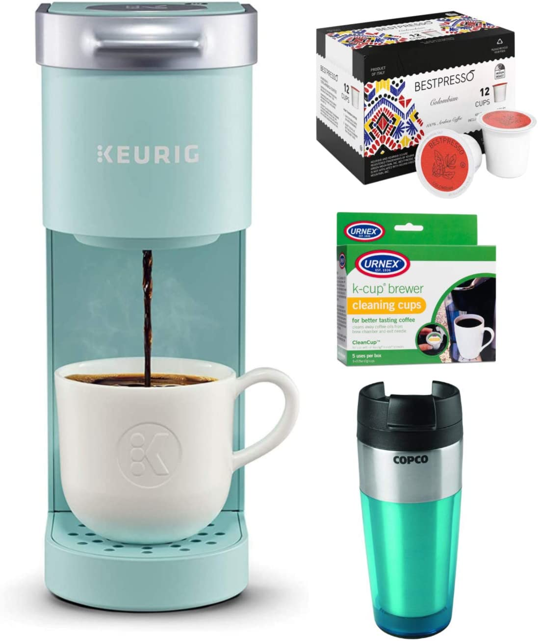 Keurig K-Mini Single Serve Coffee Maker (Oasis) with 12-Count Colombian Roast Coffee, Cleaning Cups & Tumbler Bundle (4 Items)